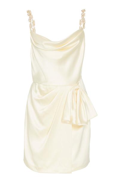 Markarian Rosetta Ivory Satin Mini Wrap Skirt Dress With Exaggerated B in white
