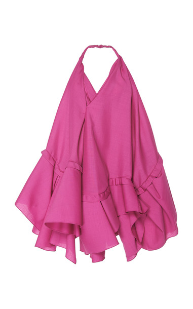 Jacquemus Rosa Asymmetrical Wool Dress in pink