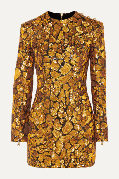 Balmain - Button-embellished Sequined Crepe Mini Dress - Gold
