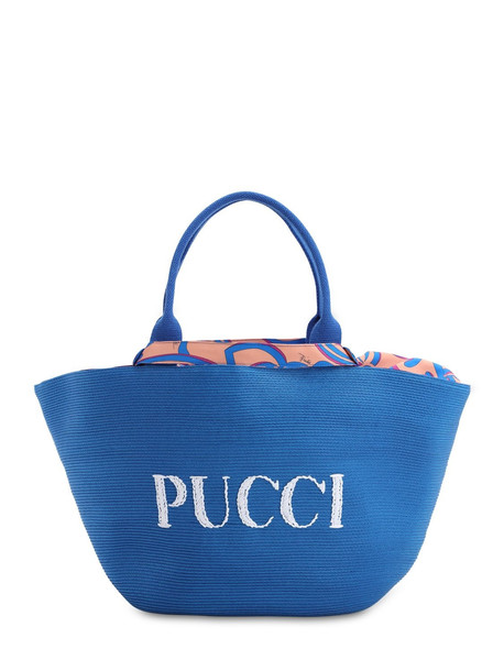EMILIO PUCCI Riva Beach Logo Bag in blue