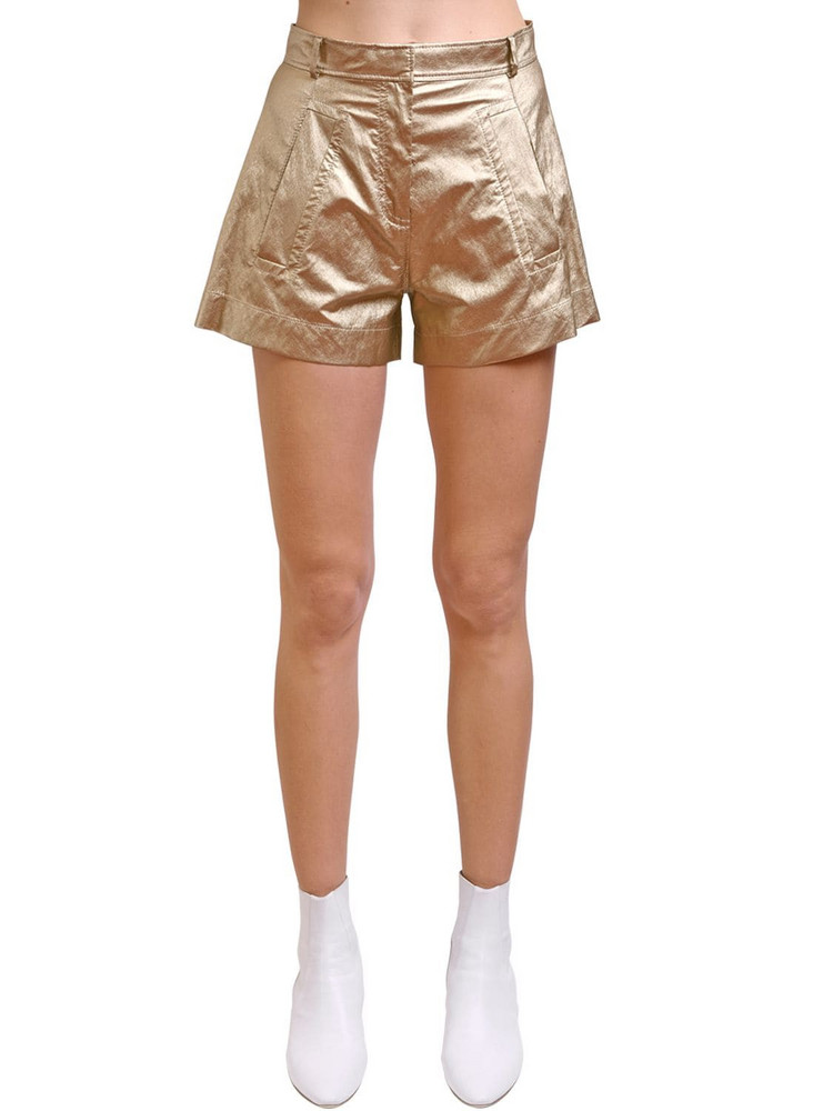 PHILOSOPHY DI LORENZO SERAFINI Metallic Coated Satin Shorts in gold