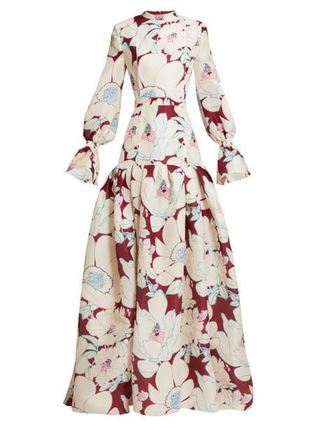 Carolina Herrera - Oleander Floral Print Silk Gazar Gown - Womens - Burgundy Multi