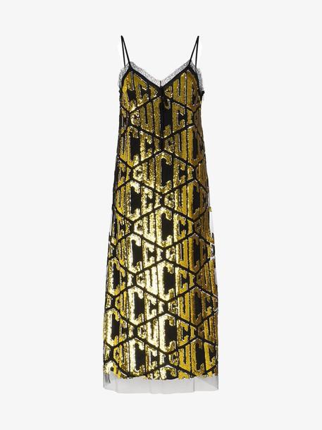 Gucci Gucci game sequins slip dress in metallic
