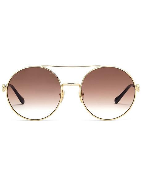 Gucci Eyewear horsebit detail round-frame sunglasses in brown