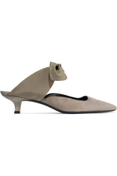 The Row - Coco Leather And Satin Mules - Army green