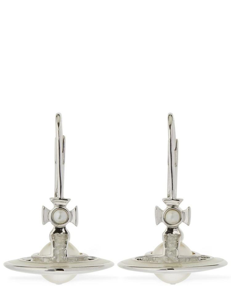 VIVIENNE WESTWOOD Simonetta Faux Pearl Drop Earrings in silver / white
