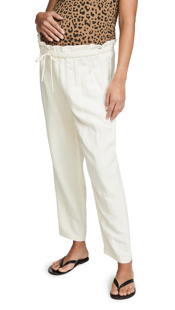 HATCH Linen Paperbag Pants in ivory