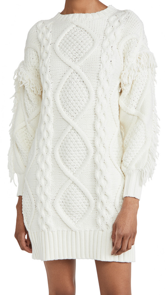 Line & Dot Jasper Fringe Dress in ivory