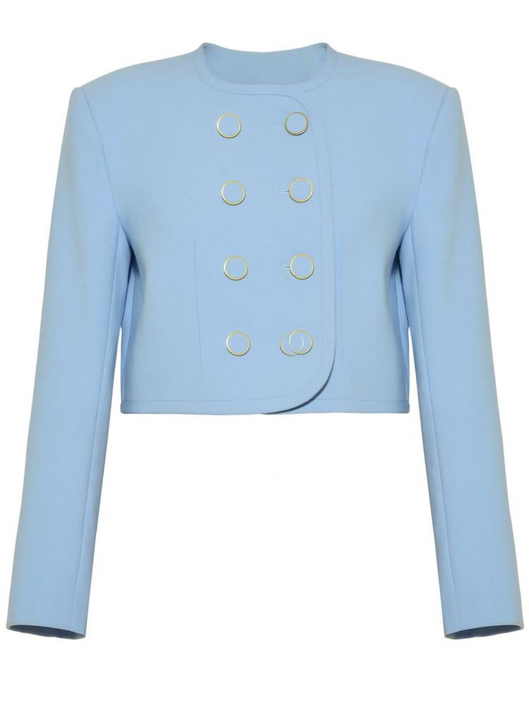 GEORGE KEBURIA Cropped Crepe Jacket in blue