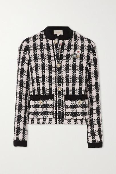 Maje - Vicky Houndstooth Cotton-blend Tweed Jacket - Black