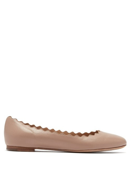 Chloé Chloé - Lauren Scallop Edge Leather Ballet Flats - Womens - Nude