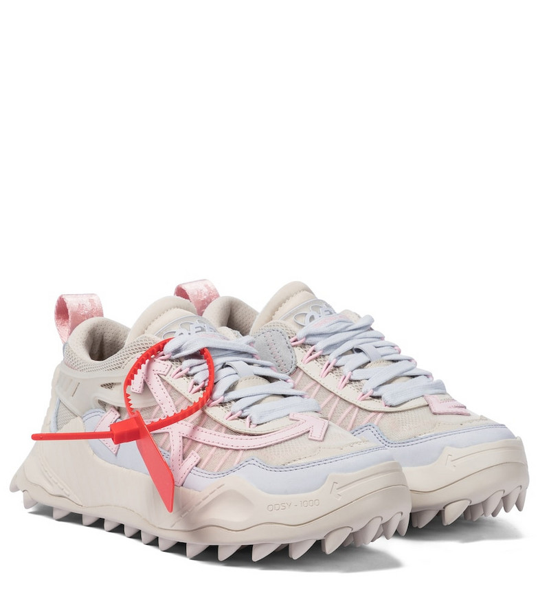 Off-White Odsy-1000 leather-trimmed sneakers in pink