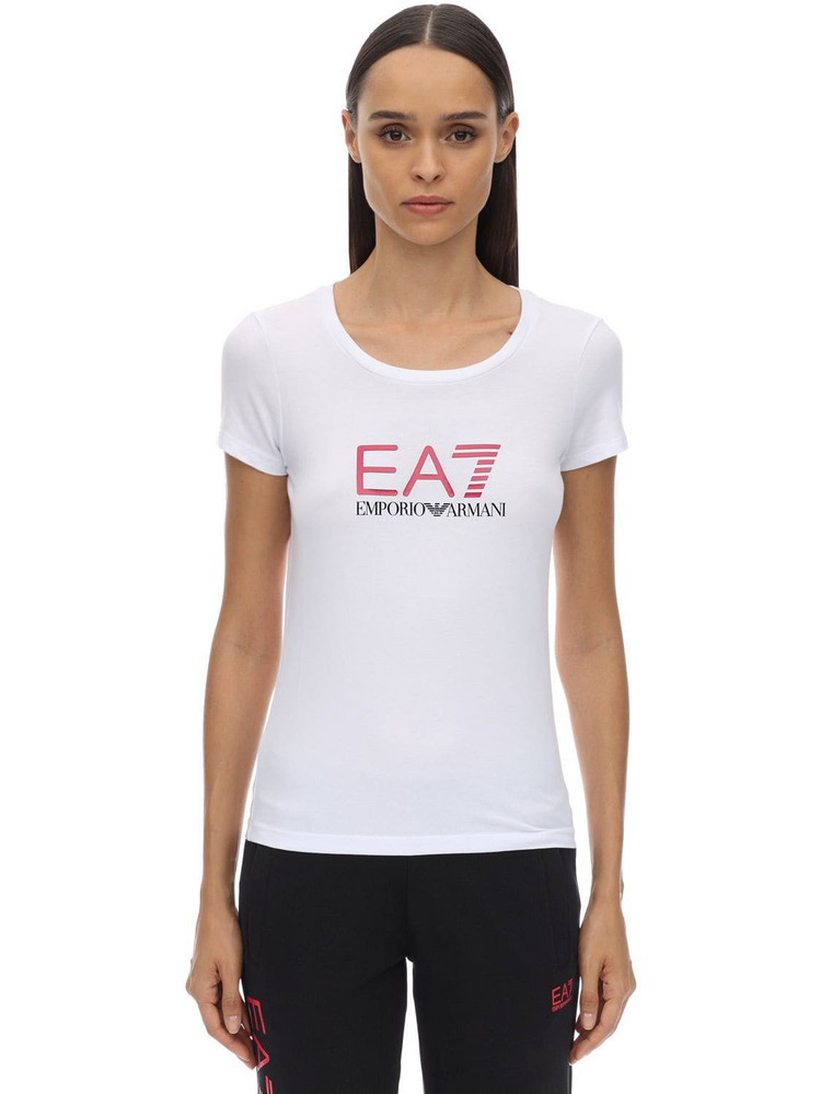EA7 EMPORIO ARMANI Train Logo Stretch Cotton Jersey T-shirt in white