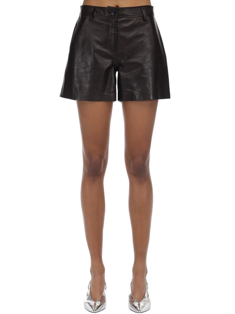 MARYAM NASSIR ZADEH High Waist Leather Shorts in brown