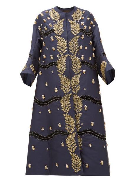 Biyan - Hawwa Crystal Embellished Silk Twill Coat - Womens - Navy Gold