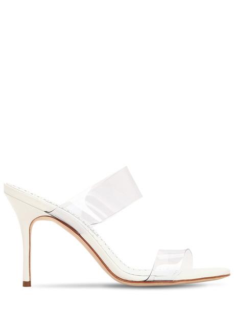MANOLO BLAHNIK 90mm Scolto Pvc Sandals in white