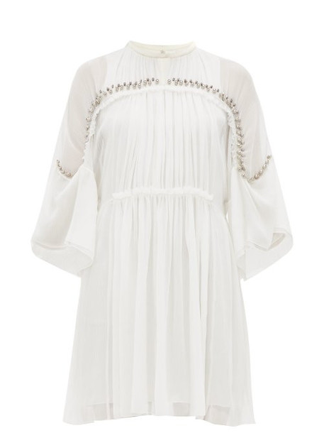 Chloé Chloé - Embellished Plissé Silk Chiffon Mini Dress - Womens - Ivory