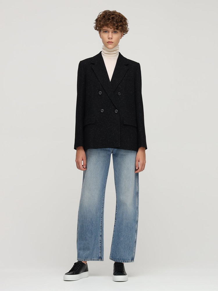 A.P.C. Wool Blend Tweed Blazer in black