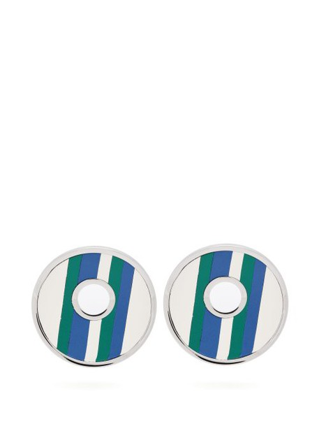 Marni - Striped Leather Clip Earrings - Womens - Blue