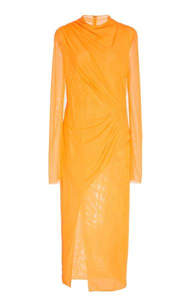 Sally LaPointe Draped Chiffon Midi Dress Size: 2 in orange