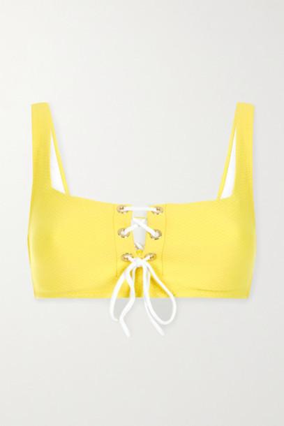 Heidi Klein - Cancun Lace-up Seersucker Underwired Bikini Top - Yellow