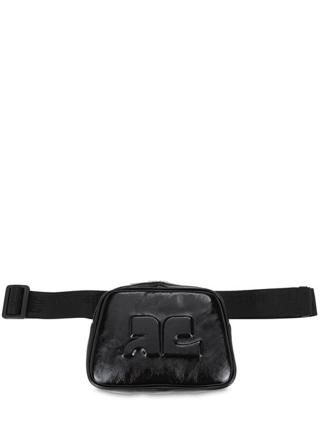 COURREGES Embossed Logo Patent Leather Belt Bag in black