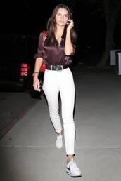 jeans,emily ratajkowski,model off-duty,top,spring outfits,white jeans