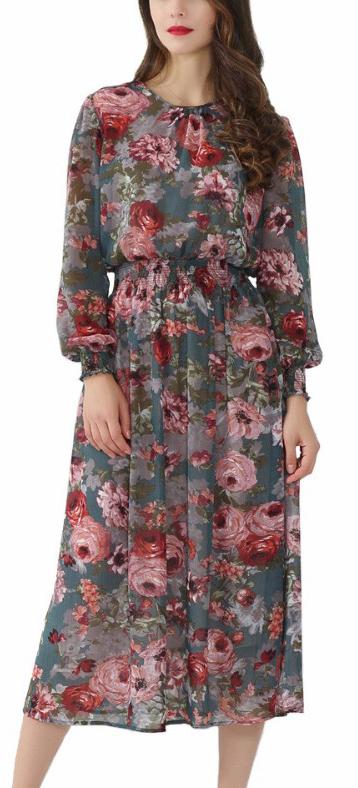 dress retro boho bohemian floral summer
