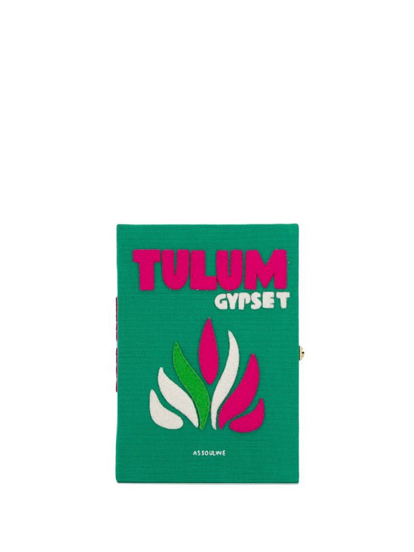 Olympia Le-Tan Tulum Book embroidered clutch bag in green