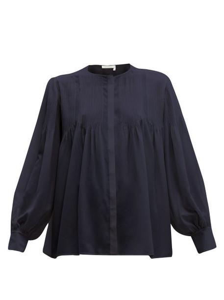 Chloé Chloé - Pintuck Silk Crepe De Chine Blouse - Womens - Navy