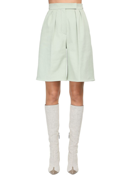 MAX MARA Pleated Cotton Bull Shorts in green