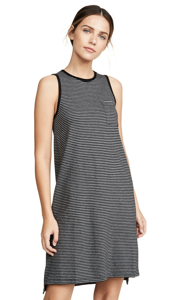ATM Anthony Thomas Melillo Striped Jersey Dress in black / grey