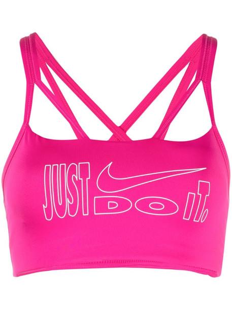 Nike slogan print performance top in pink