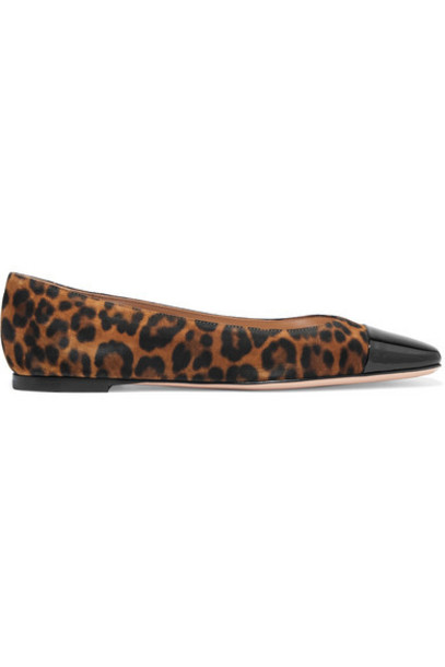 Gianvito Rossi - Leopard-print Suede And Patent-leather Ballet Flats - Leopard print