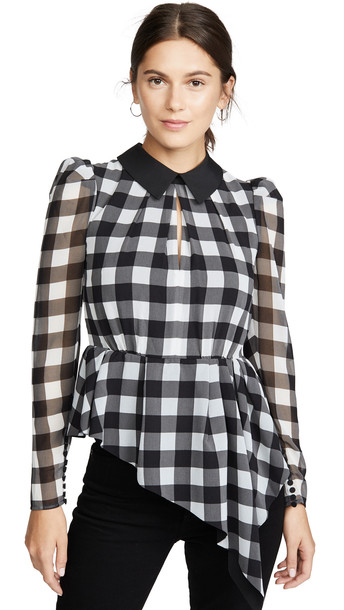 Self Portrait Monochrome Gingham Printed Top in black / ivory