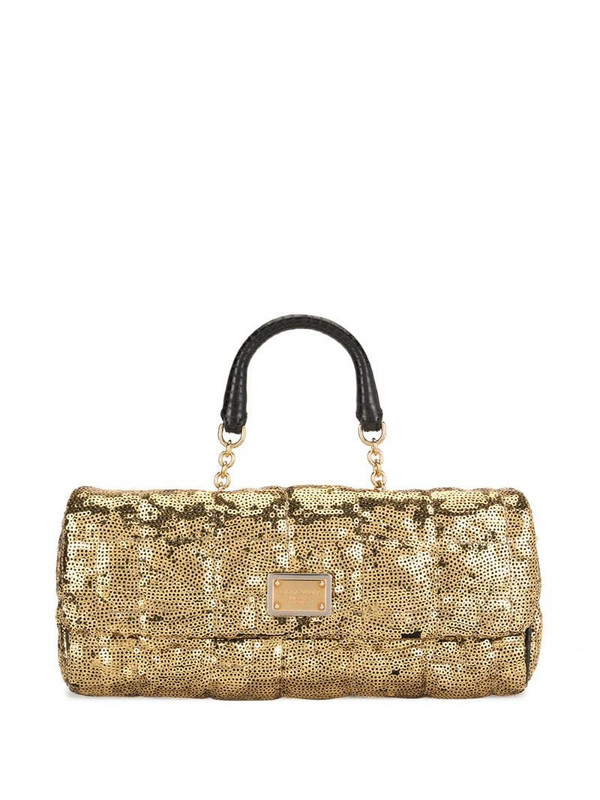 Dolce & Gabbana Pre-Owned rectangle body sequinned tote bag in gold