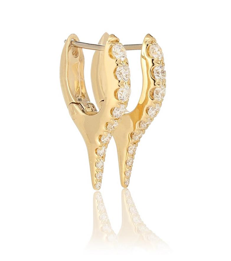 Melissa Kaye Lola Mini Needle 18kt gold earrings with diamonds in yellow