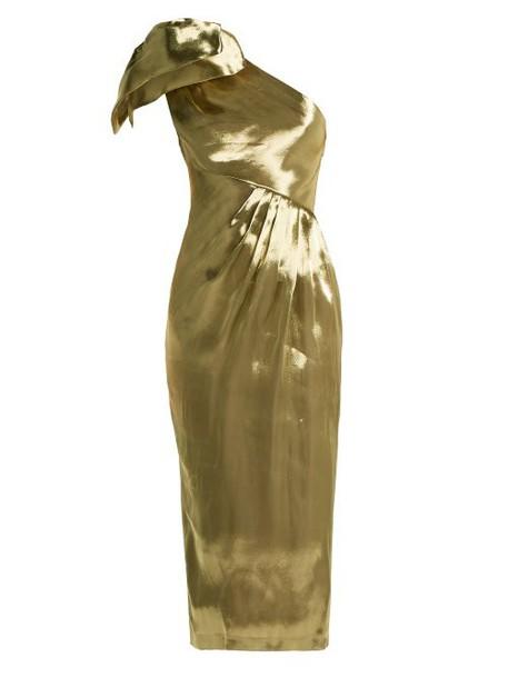 Maria Lucia Hohan - Alya One Shoulder Silk Dress - Womens - Gold