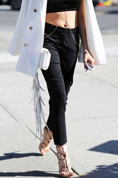 le fashion image blogger jacket pants black pants black top white coat body chain white bag