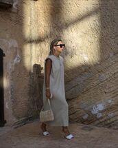 dress,maxi dress,nude dress,sleeveless dress,sandal heels,sandals,bag