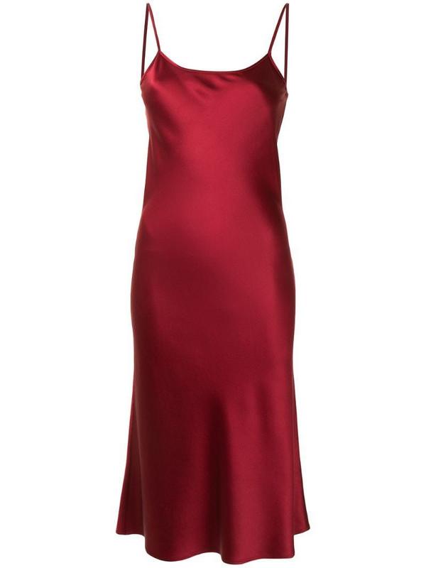 VOZ midi silk slip dress in red