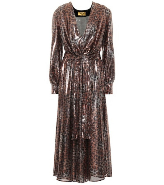 MSGM Sequined leopard midi dress in brown