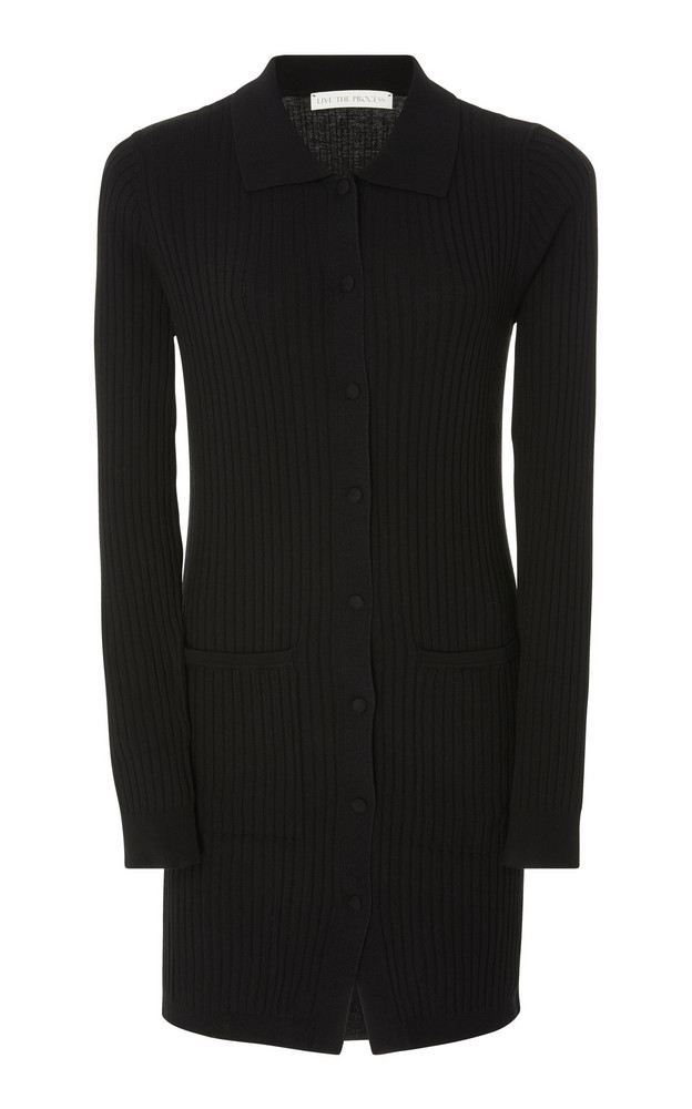 Live the Process Ribbed Knit Cardigan in black