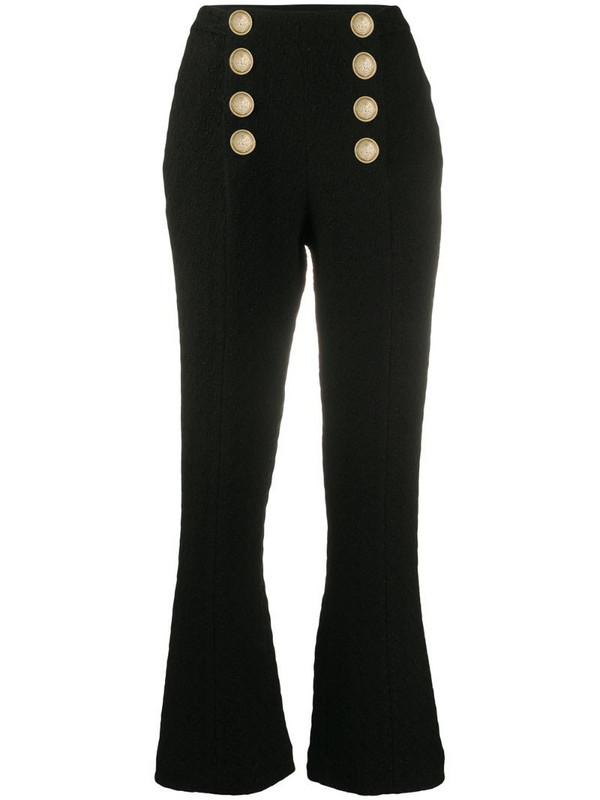 Balmain button-embellished tweed trousers in black