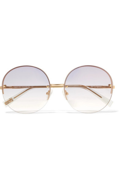 Le Specs - Say My Name Round-frame Gold-tone Sunglasses