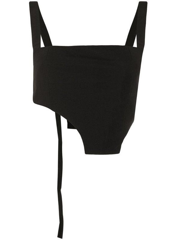 Hyein Seo asymmetric-hem cropped top in black