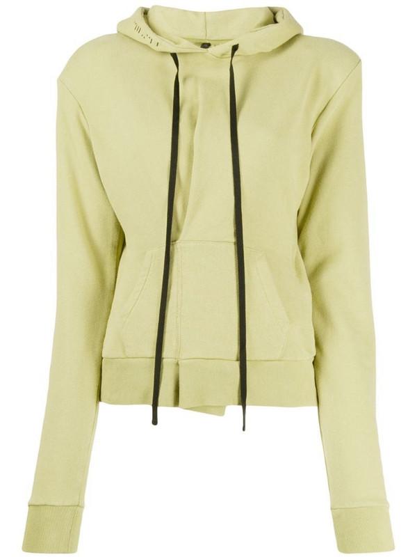 UNRAVEL PROJECT slim-fit pintuck hoodie in green
