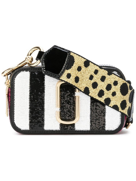 Marc Jacobs Sequin striped Snapshot small camera bag in black