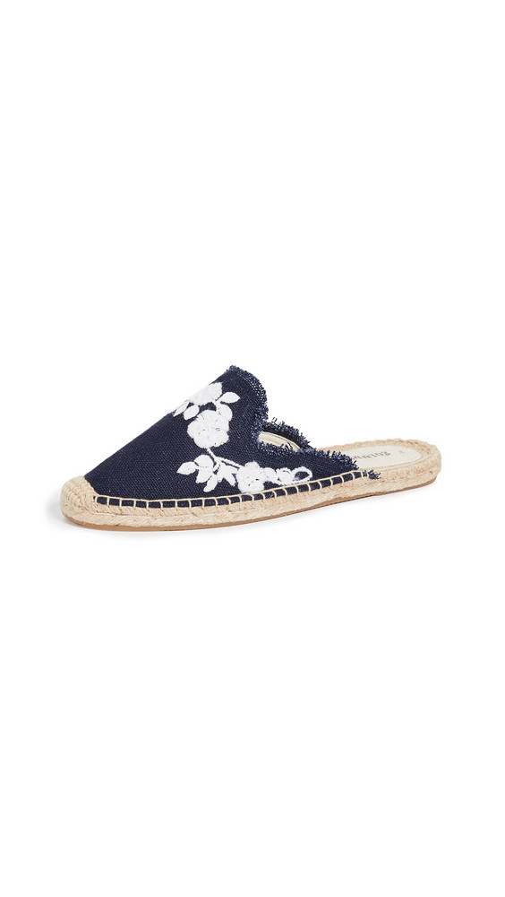 Soludos Frayed Floral Mules Espadrilles in blue