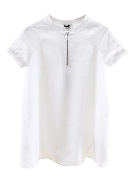 Karl Lagerfeld Kids Girls Dress With Zip in white